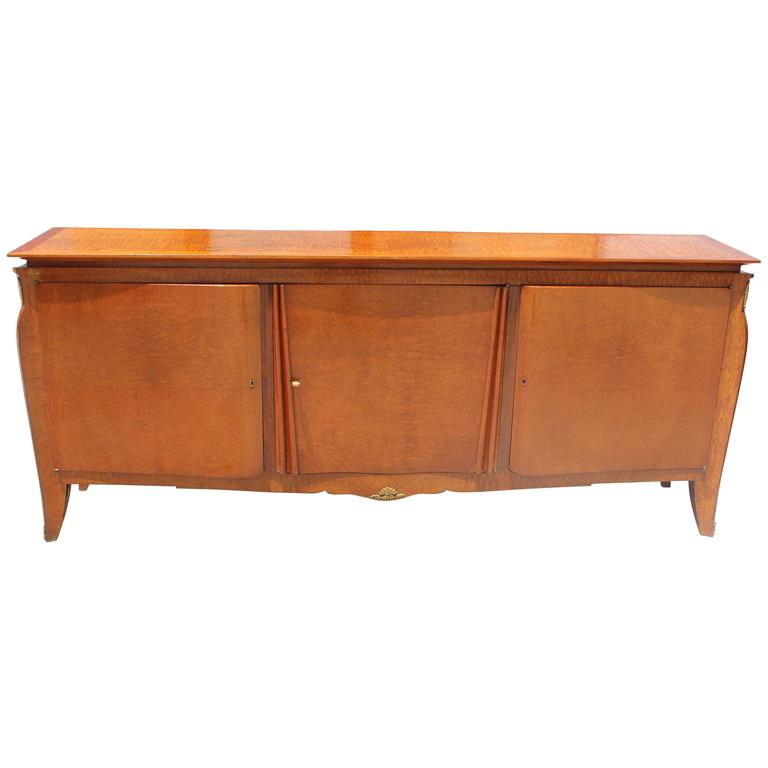 Grand French Art Deco Classic Flame Mahogany Sideboard / Buffet, circa 1940s