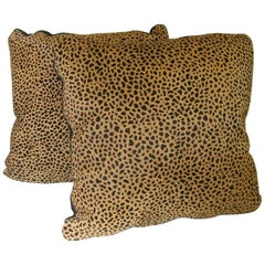 Single or a Pair of Pony Hide Pillows with Exotic Animal Print