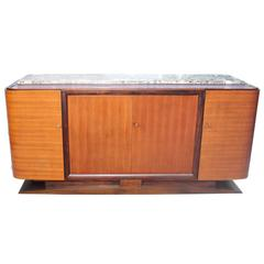 Grand French Art Deco Exotic Macassar Sideboard with Marble Top, circa 1940s.