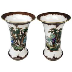Herend Tall Pair Funneled Painted Vases Hunting Scenes, circa 1900