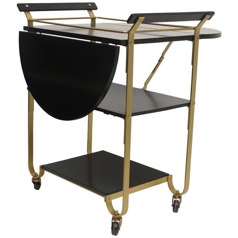 mid 20th century brass bar cart for sale at 1stdibs. Black Bedroom Furniture Sets. Home Design Ideas