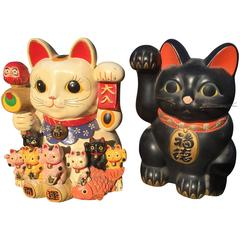 Japanese Big red & blue Antique Maneki-Neko Good Fortune Money Cats-old collecto