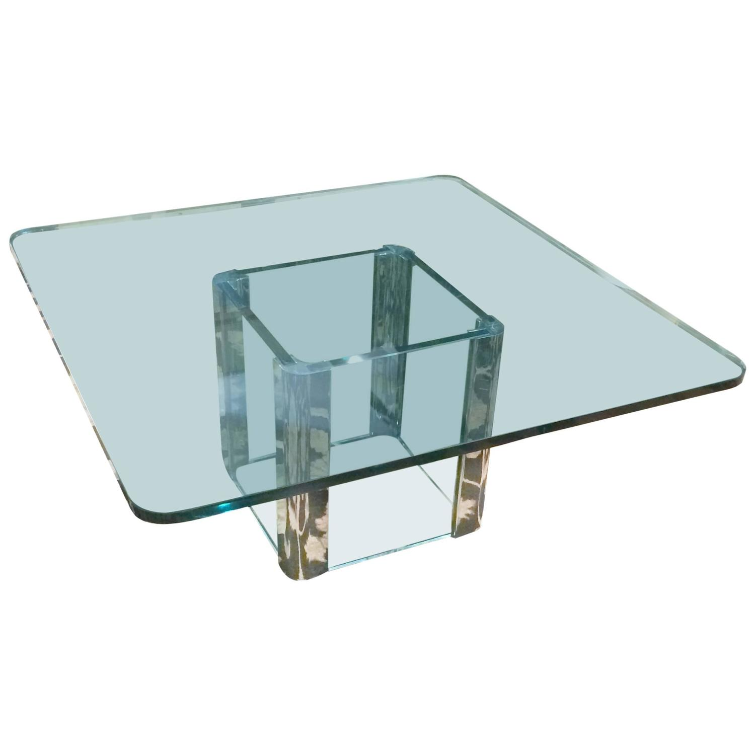 Pace Mid Century Modern Square Glass and Chrome Coffee Table at