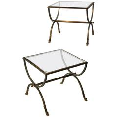 Steel and Gilt Brass Side Tables in the Style of Maison Jansen