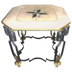 Stunning Art Deco Marble with Iron Occasional Regency Table
