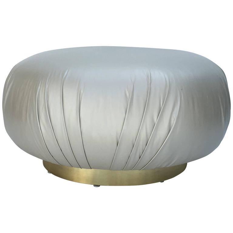 Brass and Leather Ottoman by Steve Chase