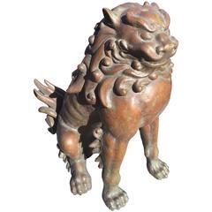 Japanese Fine Bronze Antique Lion Garden Dog with original collector box
