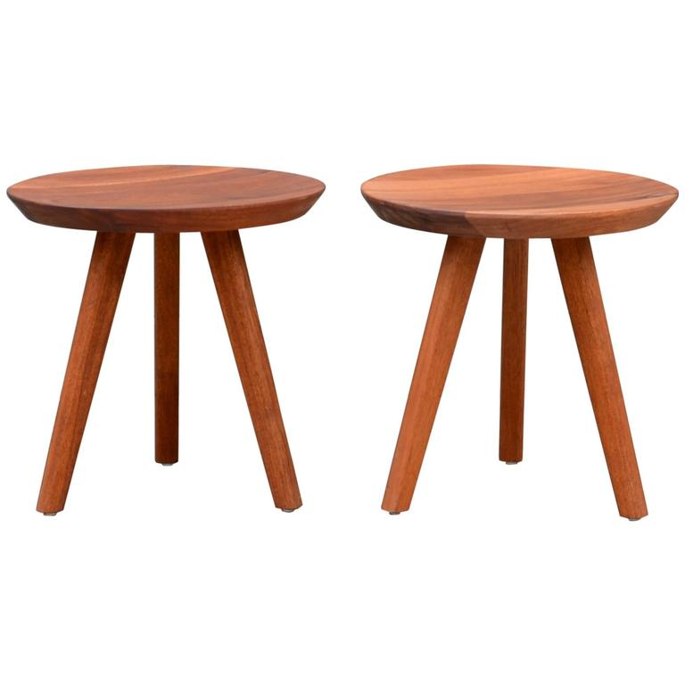 Pair of Sturdy Tripod Carved Wood Stools in the Style of Charlotte Perriand