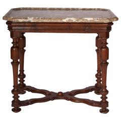 Henry III Style Oak Side Table with Shaped Marble Top