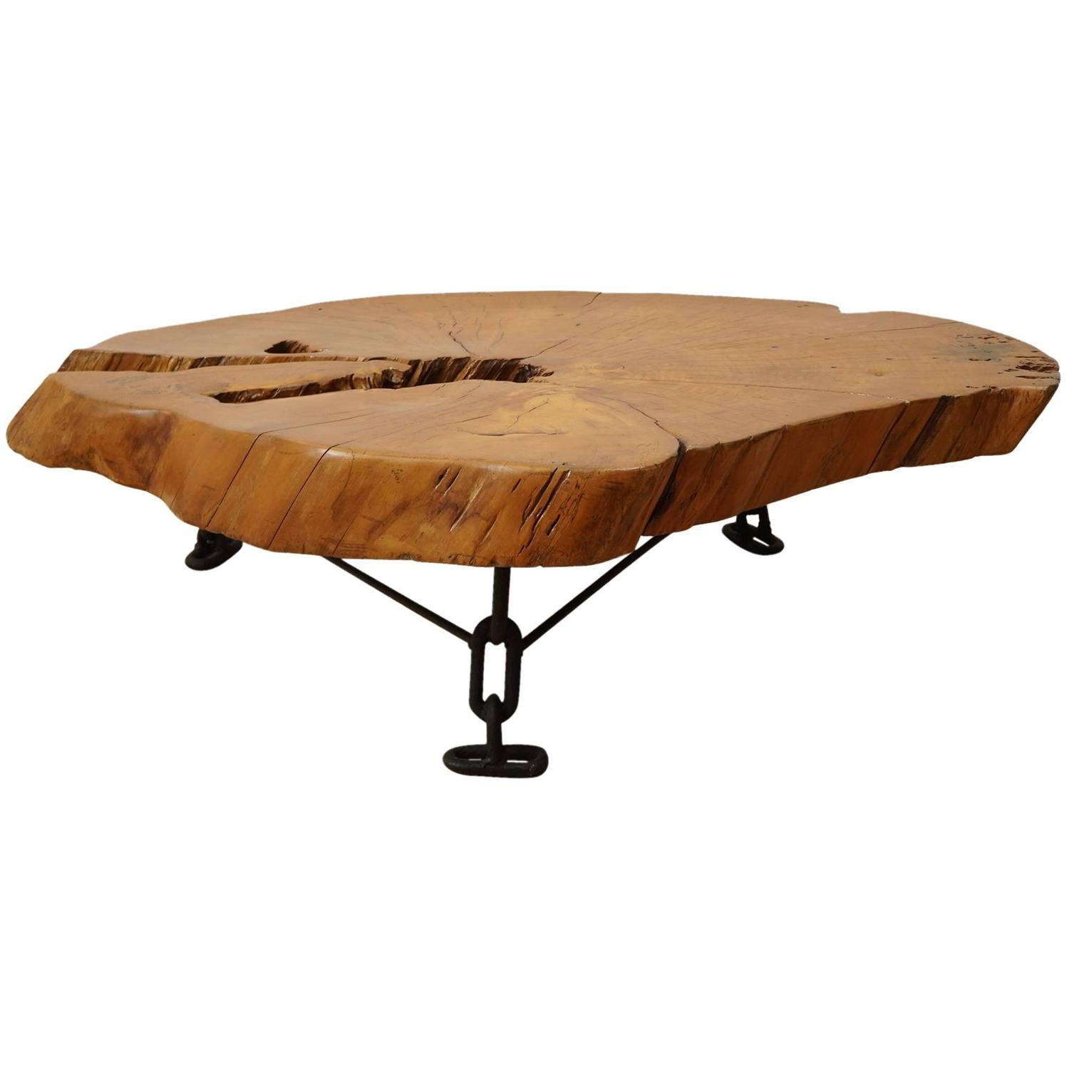 Large wood slab cocktail table at 1stdibs for Large wooden coffee tables