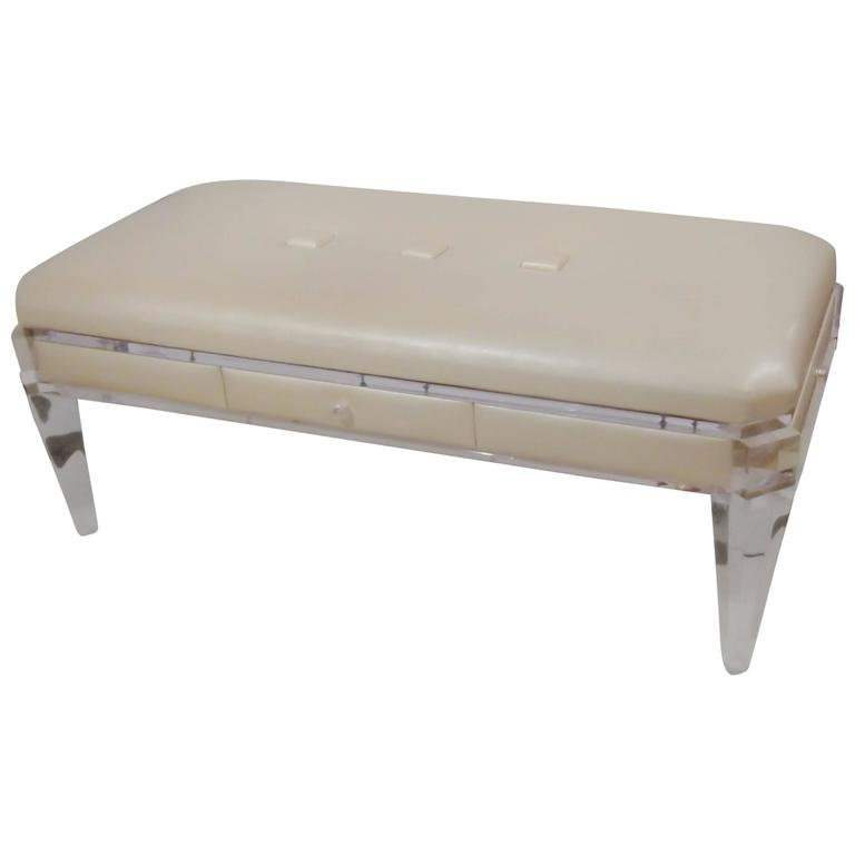 Decorator Lucite And Pearled Vinyl Custom Bench For Sale At 1stdibs