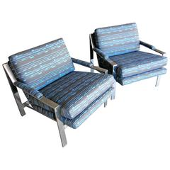 Beautifully Upholstered Pair of Polished Steel Lounge Chairs by Cy Mann  C.1970s