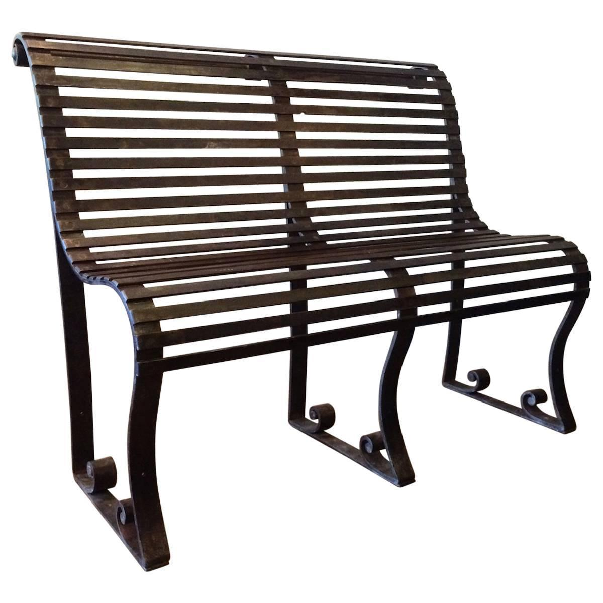 Late 19th Century Victorian Wrought Iron Park Bench For