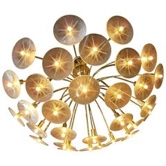 Radiant 30 Arm Brass Chandelier from The Claremont Line by Lightolier C. 1955