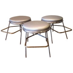 Mid-Century Steel Shoe Fitting Stools with Footrests