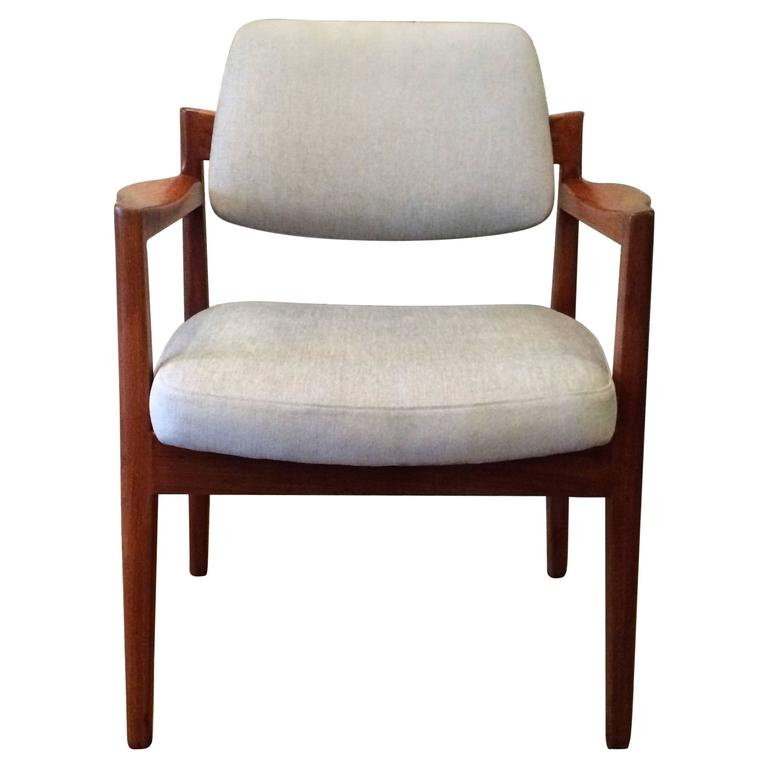 Mid Century Modern Armchairs: Mid-Century Modern Teak Upholstered Armchair By Jens Risom