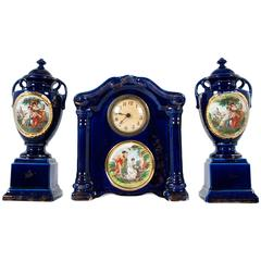 Antique  English Three-Piece Decorative Clock Set With Two Urns
