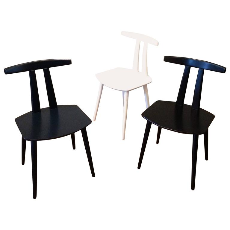 Danish Modern Lacquered Side Chairs By Folke Palsson For