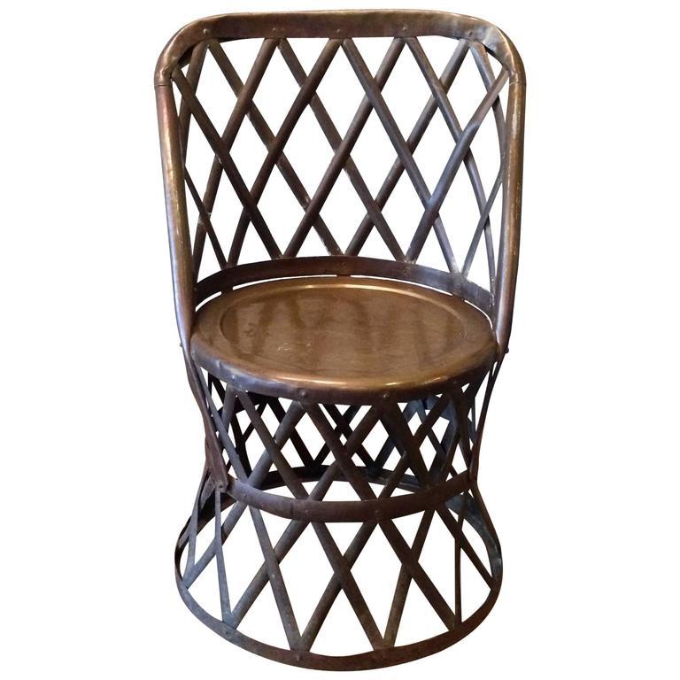 Hollywood Regency Braided Brass African Safari Inspired Chair By Sarreid