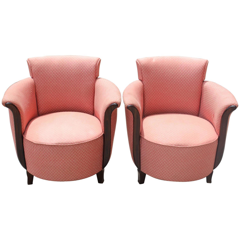 Pair Of Fantastic Designer Curved Arm Club Chairs, Circa