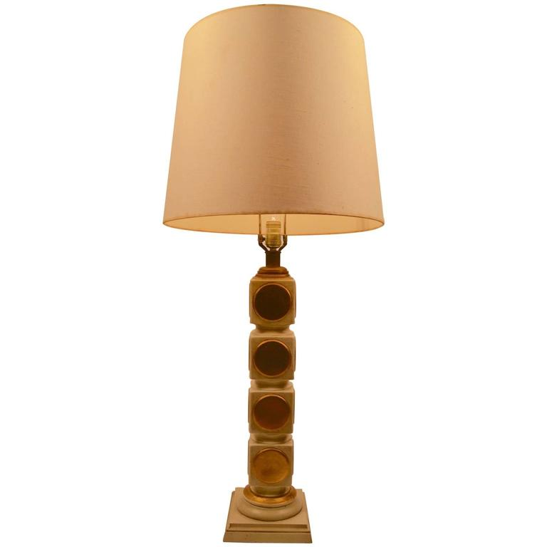 Stacked Cube Plaster Lamp with Gold Dot Motif