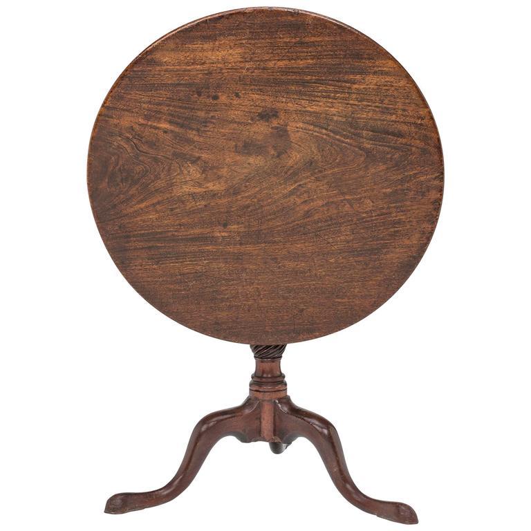 19 Century English Walnut Round Tilt Top Table 1