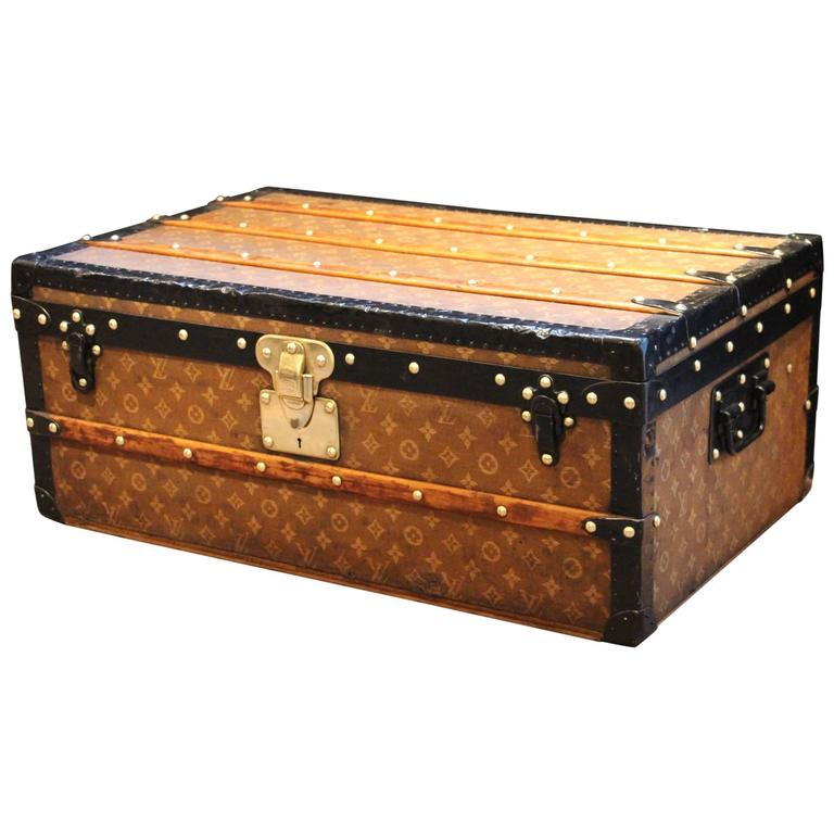 Lv Trunk Coffee Table: Small 1890s Louis Vuitton Wooven Canvas Toile Tissée