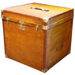 "1930s Light Brown Canvas Extra Large ""Cube Shape"" French Hat Trunk"