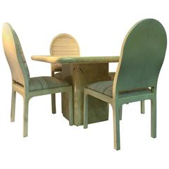 Lacquered Goatskin Cubed Dining Table and Chairs Designed by Enrique Garcel