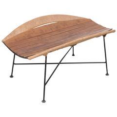 Rare Wrought Iron Arthur Umanoff Magazine Side Table or Bench