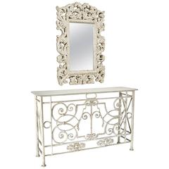 """19th Century """"Juliet Balcony"""" Marble-Topped Console with Mirror"""