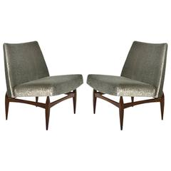 Pair of Sculptural Italian Slipper Chairs