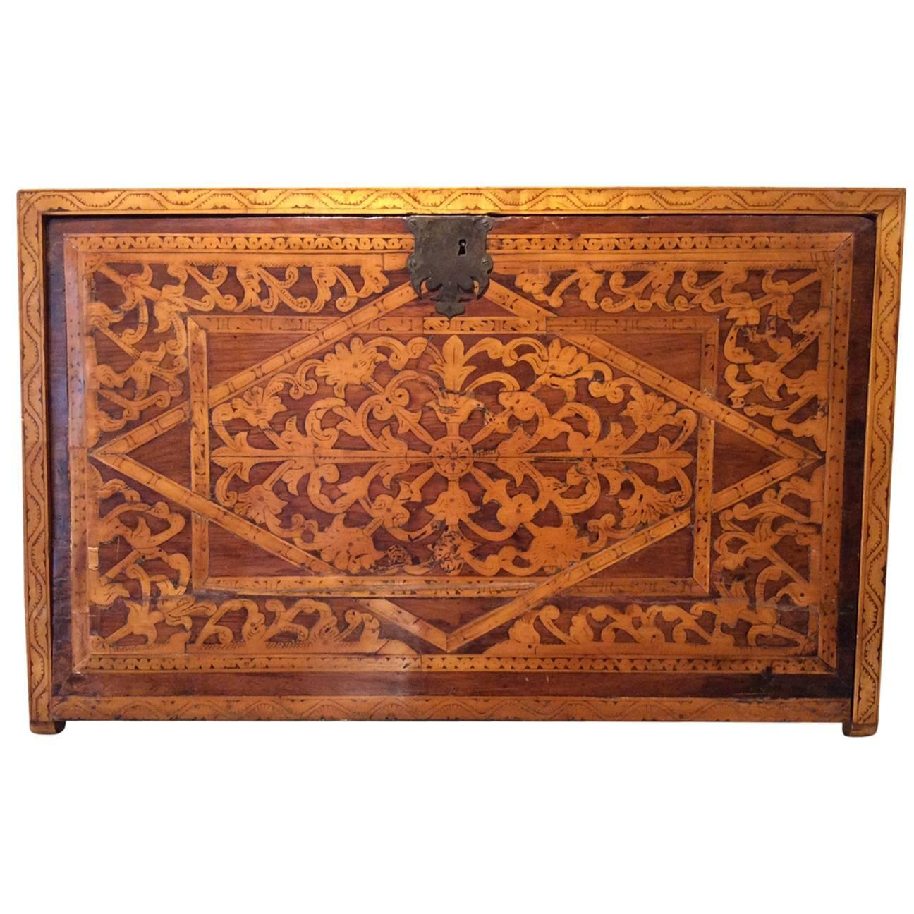17th Century Cabinet With Exotic Wood Inlay At 1stdibs
