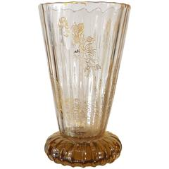 Intaglio Gilt Decorated Emile Gallé Cabinet Vase, circa 1880
