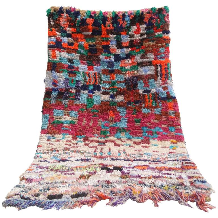 Vintage Boucherouite Moroccan Rag Rug For Sale At 1stdibs