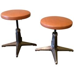 Pair Of Industrial Cast Iron Adjustable Stools with Leather Seats