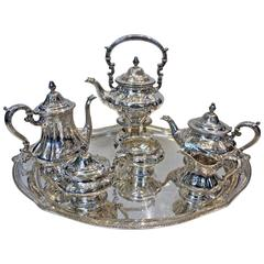 Seven-Piece Gorham Sterling Silver Tea and Coffee Service and Tray, 1926