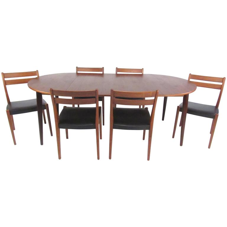 mid century modern scandinavian teak dining set with extension table at 1stdibs. Black Bedroom Furniture Sets. Home Design Ideas