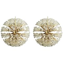 Pair of Rare Large Brass and Glass Sputnik Chandeliers by Emil Stejnar