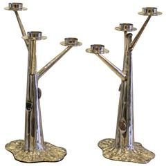 Very Refined Pair of Candleholders by Arrigo Finzi