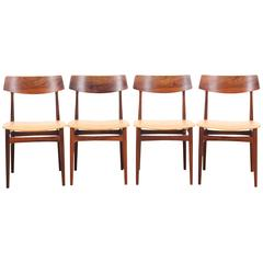 Mid-Century Modern Danish Set of Four Rosewood Dining Chairs