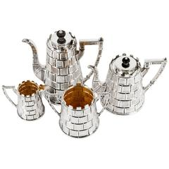 Antique English Four-Piece Tea and Coffee Set, with Registry Mark for 1877