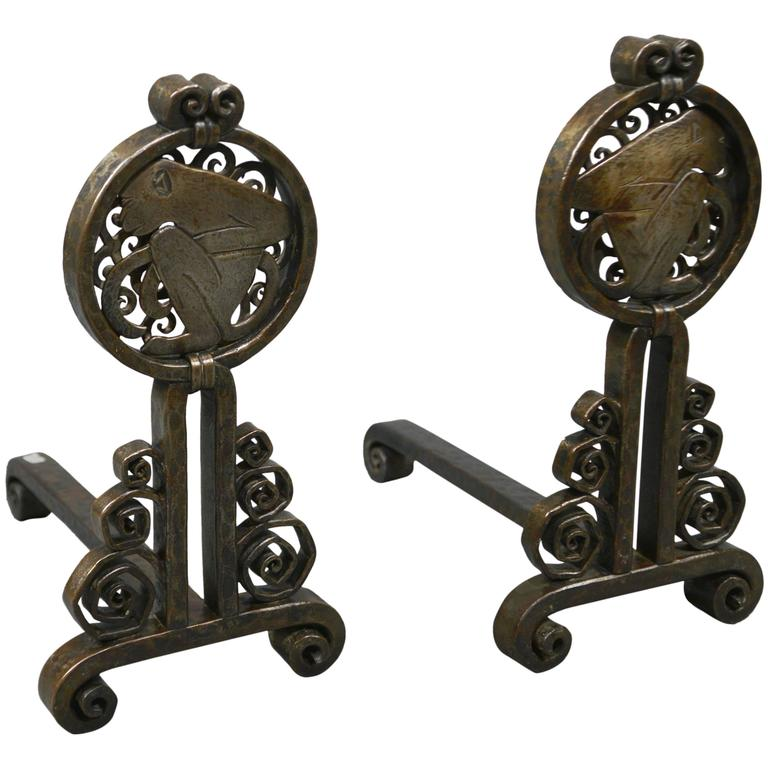 Pair of Andirons by Edgar Brandt, France, circa 1925 For Sale