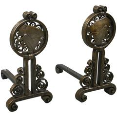Pair of Andirons by Edgar Brandt, France, circa 1925