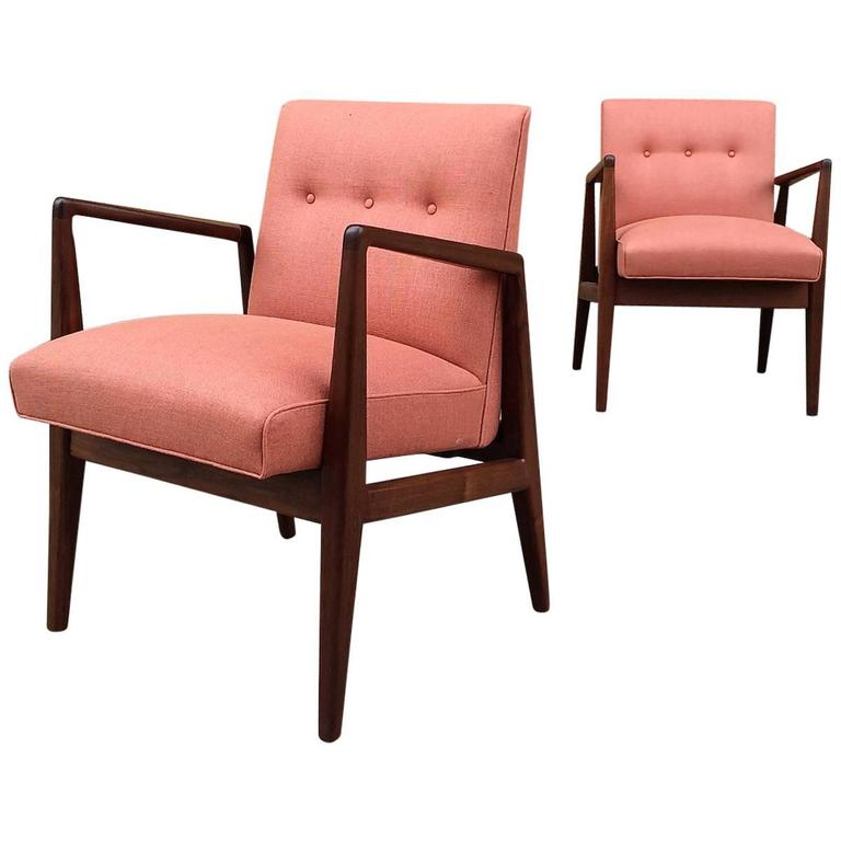 Pair of Upholstered Walnut Armchairs by Jens Risom