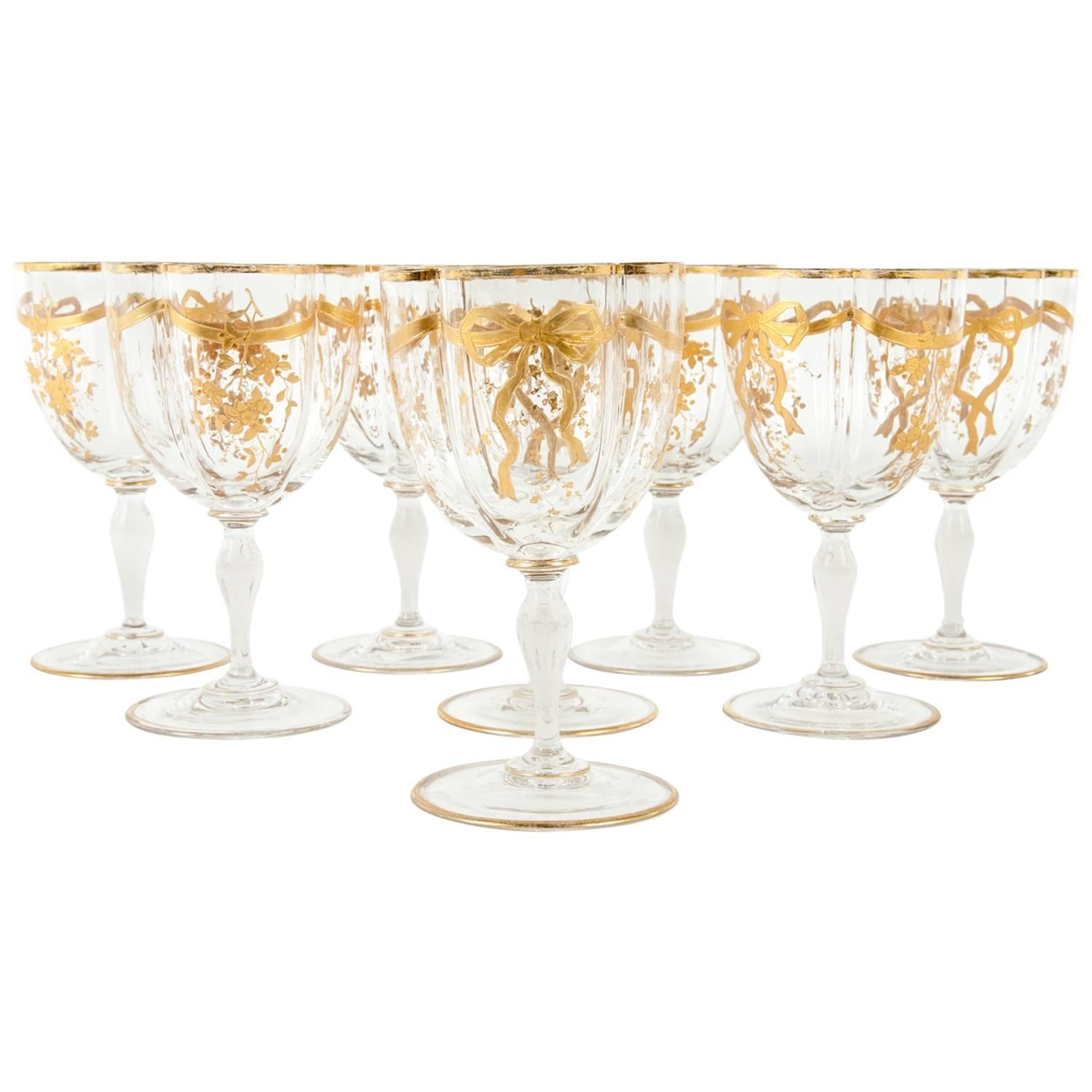 Antique French Crystal Wine Water Glasses At 1stdibs