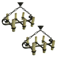 2 French 1940 Brutalist Wrought Iron Chandeliers or Pendants in Poillerat Style