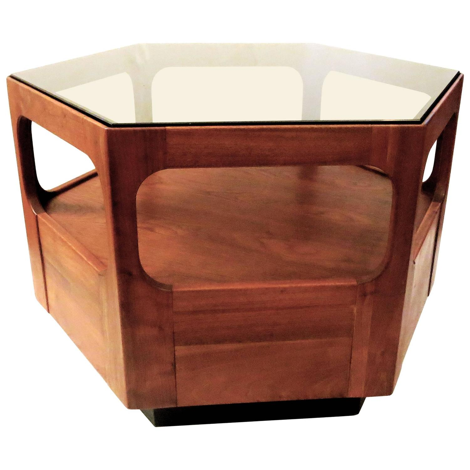 1960s American Mid Century Modern Hexagon Walnut And Smoke Glass Cocktail Table At 1stdibs