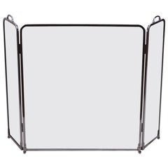 Glass and Chrome Folding Fireplace Screen