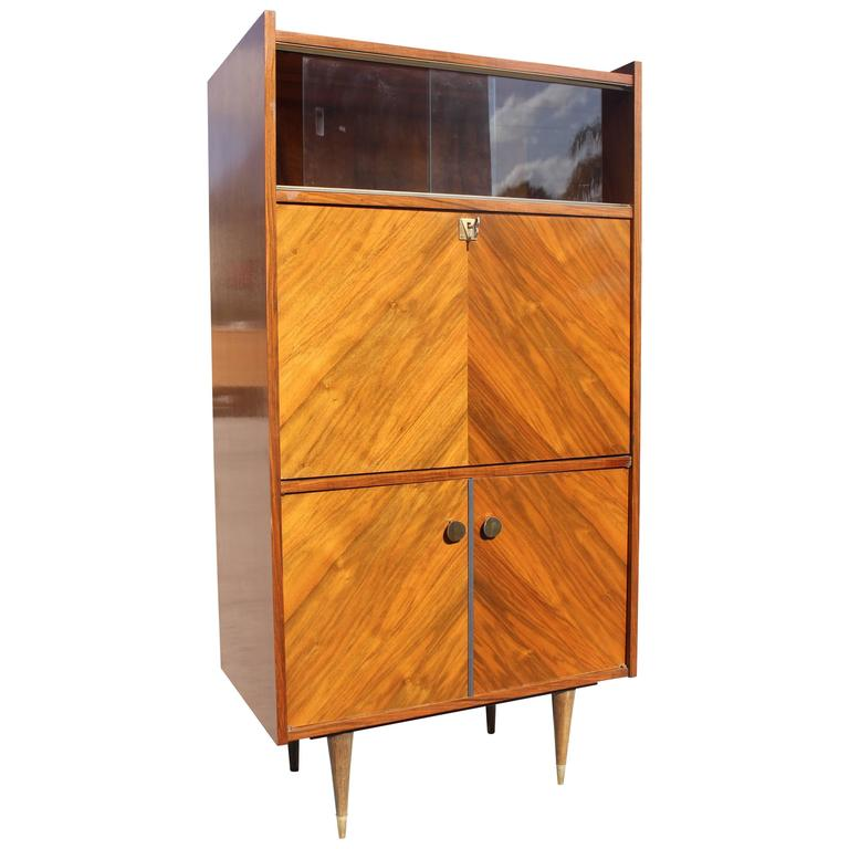 French Art Deco Art Modern Exotic Walnut Secretary Circa